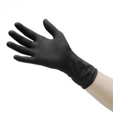 Gloves Disposable Latex Black Medium 100pcs