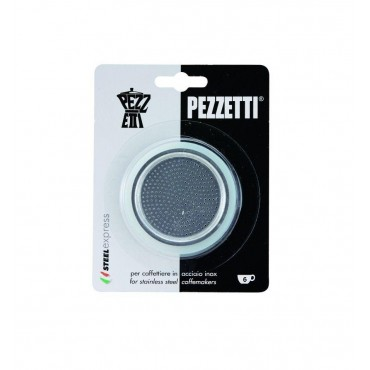 Pezzetti Steelexpress Moka Rubber Seal Gaskets and Filter - 6 Cup